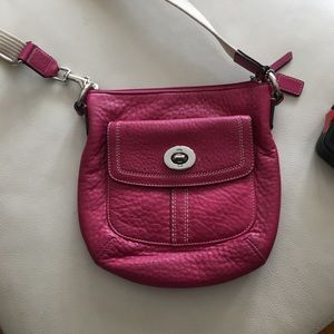 Hot pink pebbled leather coach crossbody